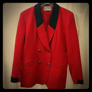 Vintage 80's Slimming Red Blazer with Black Accent